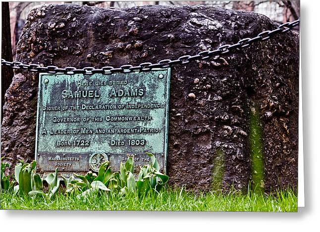 Tea Party Greeting Cards - Samuel Adams Grave  Greeting Card by John McGraw