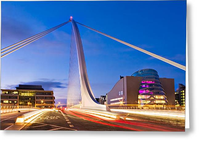 Samuel Greeting Cards - Samuel Beckett Bridge and National Conference Centre / Dublin Greeting Card by Barry O Carroll