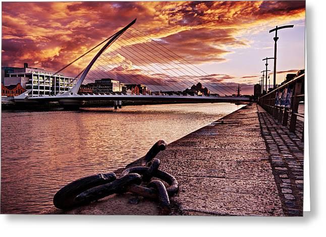 Samuel Greeting Cards - Samuel Beckett Bridge at Dusk - Dublin Greeting Card by Barry O Carroll