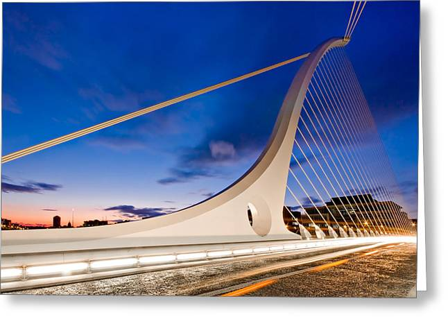 Samuel Greeting Cards - Samuel Beckett Bridge at Night / Dublin Greeting Card by Barry O Carroll