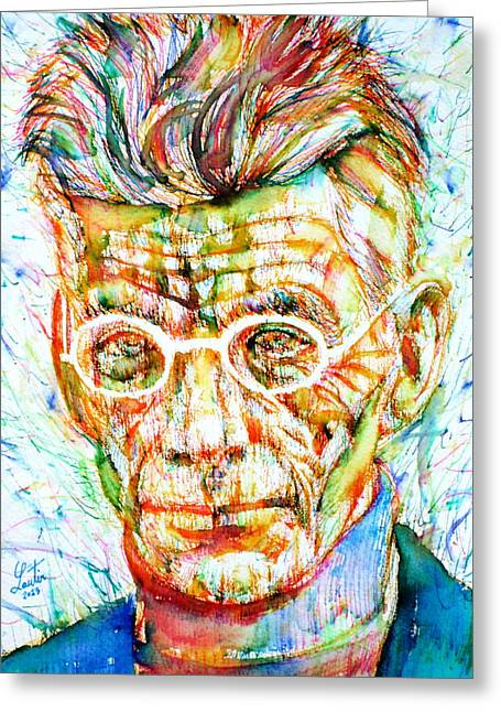 Samuel Drawings Greeting Cards - SAMUEL BECKETT - colored pens portrait Greeting Card by Fabrizio Cassetta