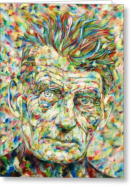 Samuel Paintings Greeting Cards - Samuel Beckett Watercolor Portrait.2 Greeting Card by Fabrizio Cassetta