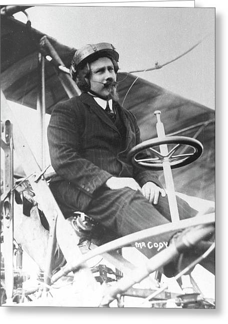 Samuel Franklin Cody In His Biplane Greeting Card by Universal History Archive/uig