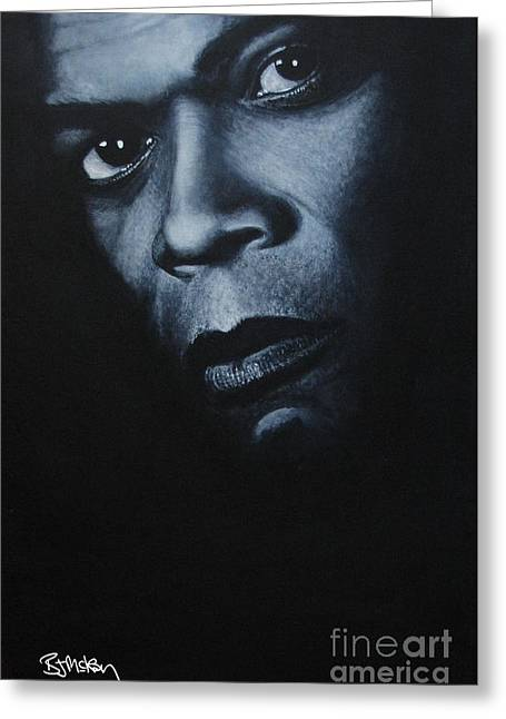 Samuel L Jackson Greeting Cards - Samuel L Jackson Greeting Card by Barry Mckay