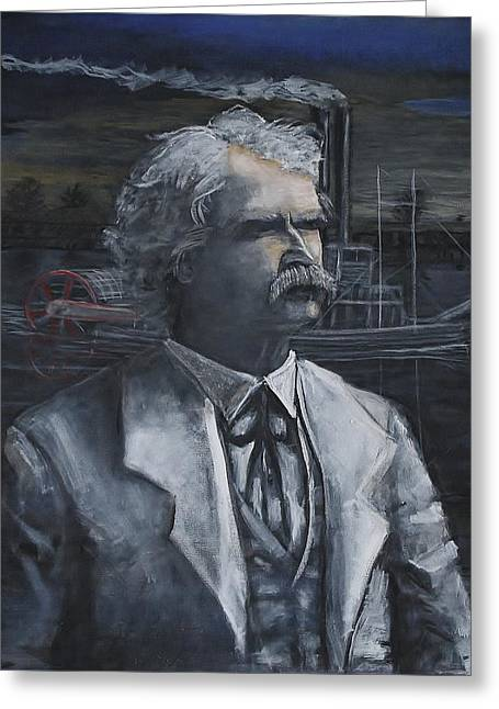 Huckleberry Paintings Greeting Cards - Mark Twain Greeting Card by Larry Lamb