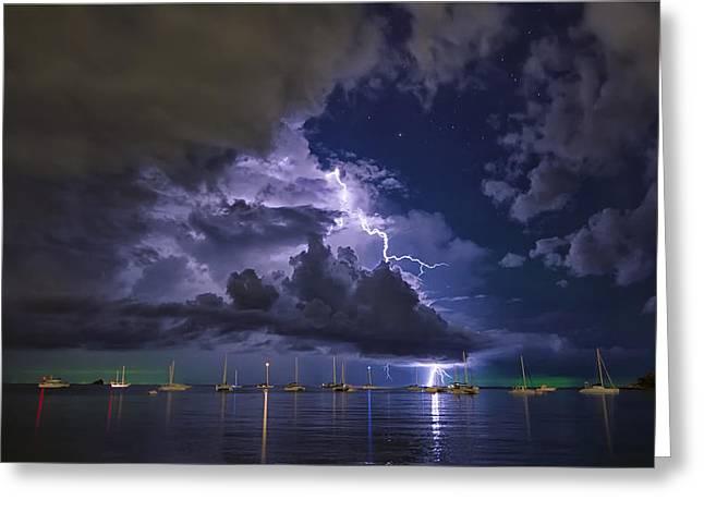 Beach At Night Digital Greeting Cards - Samui lightning storm Greeting Card by Mark Kreuiter