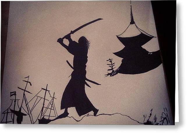 Mound Mixed Media Greeting Cards - Samurai  Greeting Card by Chris  McCabe