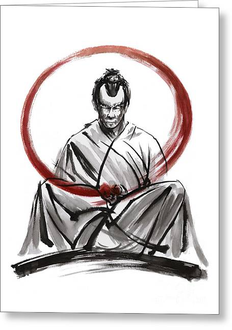 Framed Calligraphy Print Greeting Cards - Samurai Enso. Greeting Card by Mariusz Szmerdt