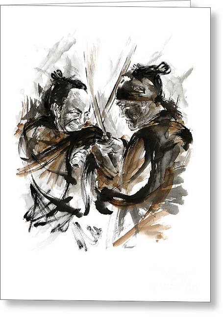 Samurai Fight. Greeting Card by Mariusz Szmerdt