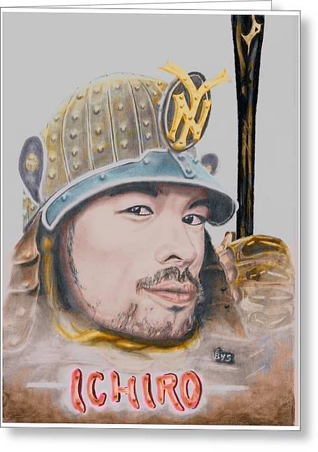 Baseballplayer Greeting Cards - Samurai Ichiro Greeting Card by Bas Van Sloten