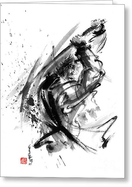 Recently Sold -  - Yang Greeting Cards - Samurai ronin wild fury bushi bushido martial arts sumi-e original ink painting artwork Greeting Card by Mariusz Szmerdt