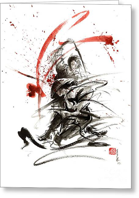 Samurai Sword Black White Red Strokes Bushido Katana Martial Arts Sumi-e Original Fight Ink Painting Greeting Card by Mariusz Szmerdt