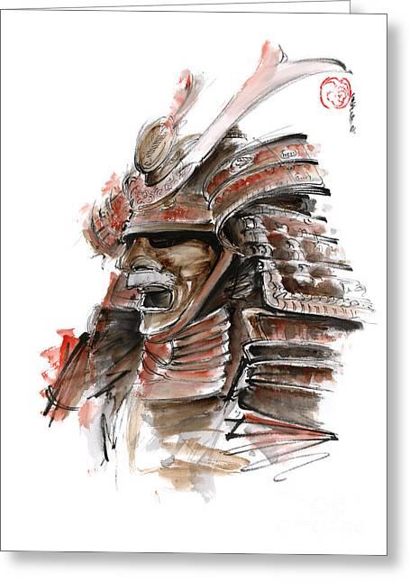 Samurai Warrior Japanese Armor  Full Face Mask Greeting Card by Mariusz Szmerdt