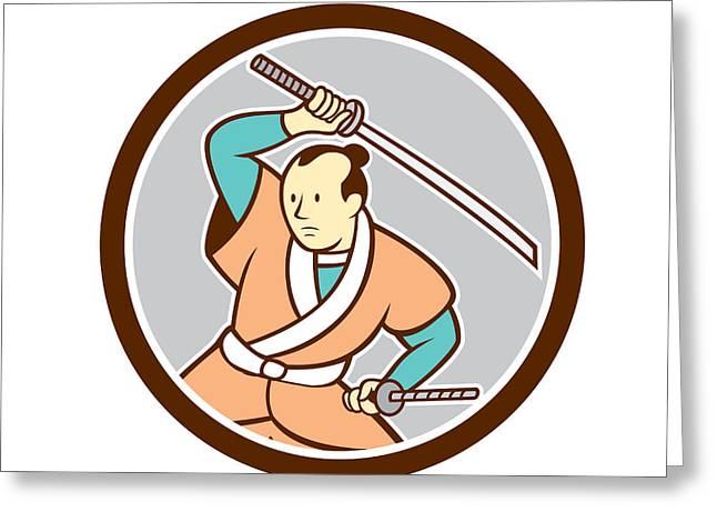 Sword Cartoon Greeting Cards - Samurai Warrior Katana Sword Circle Cartoon Greeting Card by Aloysius Patrimonio