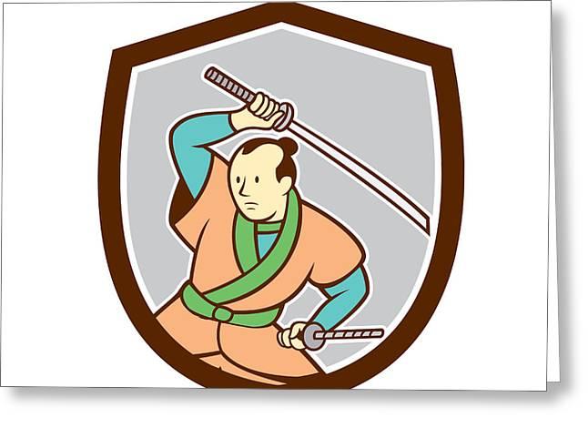 Sword Cartoon Greeting Cards - Samurai Warrior Katana Sword Shield Cartoon Greeting Card by Aloysius Patrimonio