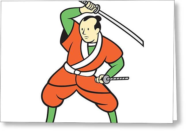 Sword Cartoon Greeting Cards - Samurai Warrior Wielding Katana Sword Cartoon Greeting Card by Aloysius Patrimonio