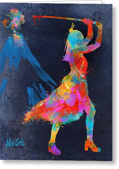 Burst Digital Art Greeting Cards - Samurai Girl Way of the Warrior Greeting Card by Nikki Marie Smith