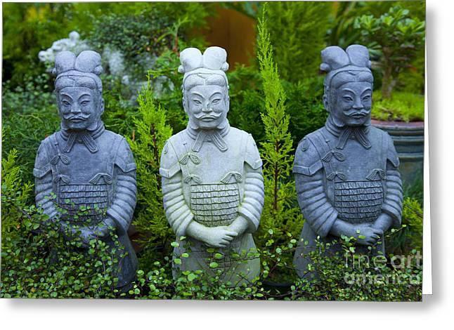 Third Estate Greeting Cards - Samuri Statues Greeting Card by Graham Foulkes