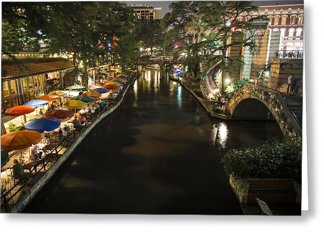 John Mcgraw Photography Greeting Cards - San Antonio and River Walk st Night Greeting Card by John McGraw