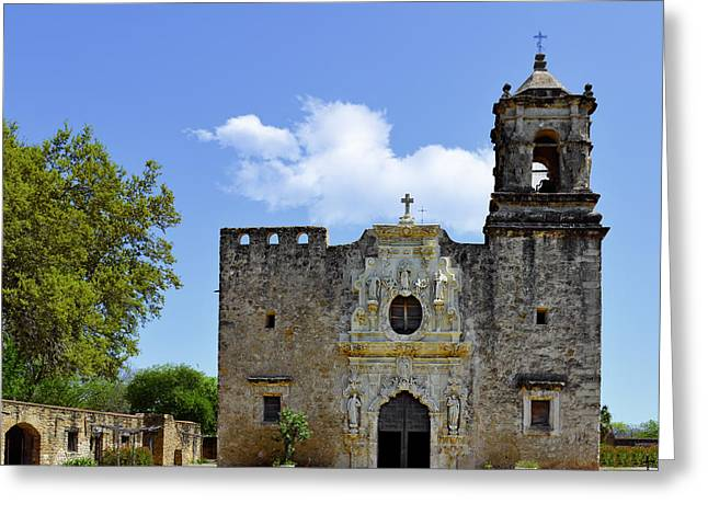 Historic Sites Greeting Cards - San Antonio Church Mission San Jose Greeting Card by Christine Till