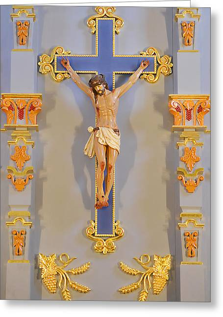 Retablos Greeting Cards - San Antonio - Crucifix Mission San Jose Greeting Card by Christine Till