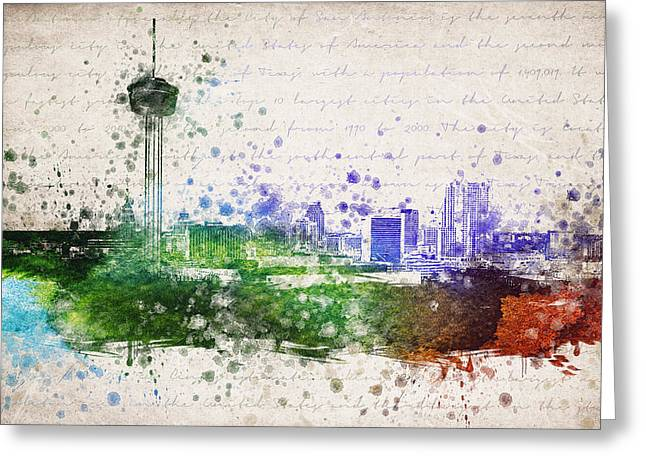 San Antonio Greeting Cards - San Antonio in Color Greeting Card by Aged Pixel