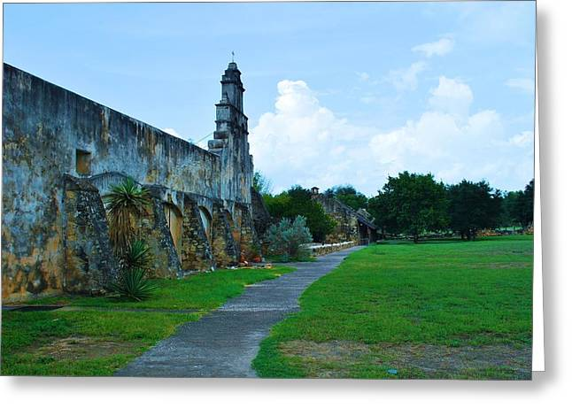 Christain Cross Greeting Cards - San Antonio Mission Greeting Card by Richard Jenkins