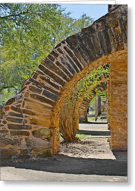 Walkways Greeting Cards - San Antonio Mission Walk San Jose Greeting Card by Christine Till