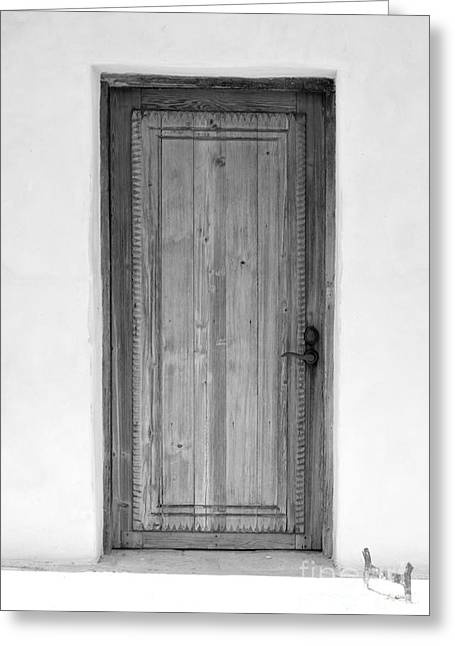 National Parks Greeting Cards - San Antonio Missions National Historical Park Mission San Juan San Antonio Wooden Door BW Greeting Card by Shawn O