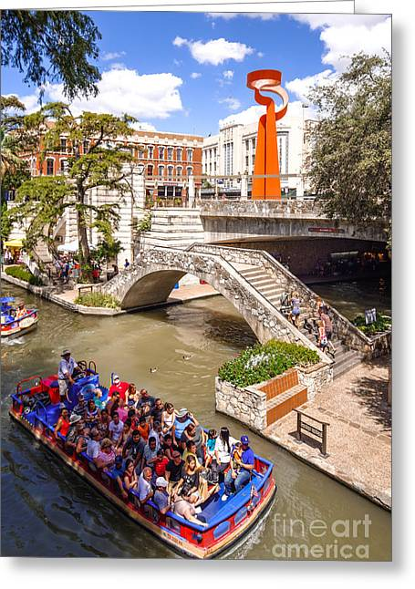 Del Rio Texas Greeting Cards - San Antonio Riverwalk and Torch of Friendship in the Summer - San Antonio Texas Greeting Card by Silvio Ligutti