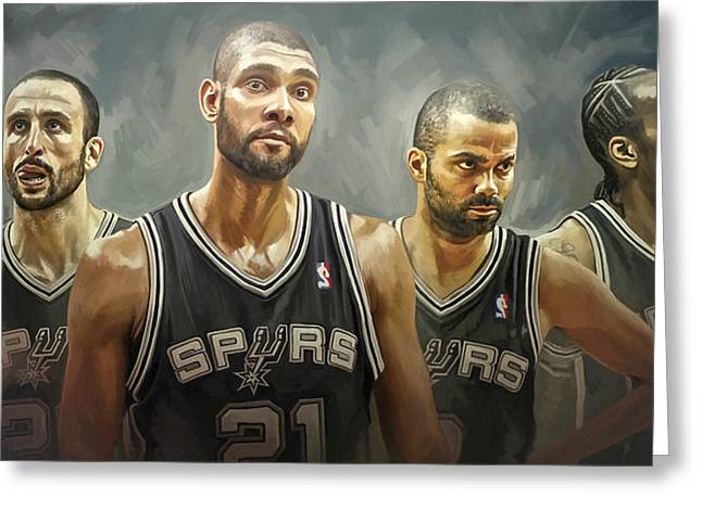 Sports Art Print Greeting Cards - San Antonio Spurs Artwork Greeting Card by Sheraz A