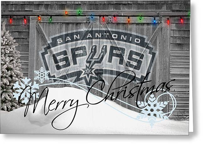 Basket Ball Greeting Cards - San Antonio Spurs Greeting Card by Joe Hamilton
