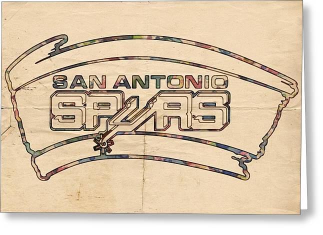 Slamdunk Greeting Cards - San Antonio Spurs Logo Vintage Greeting Card by Florian Rodarte