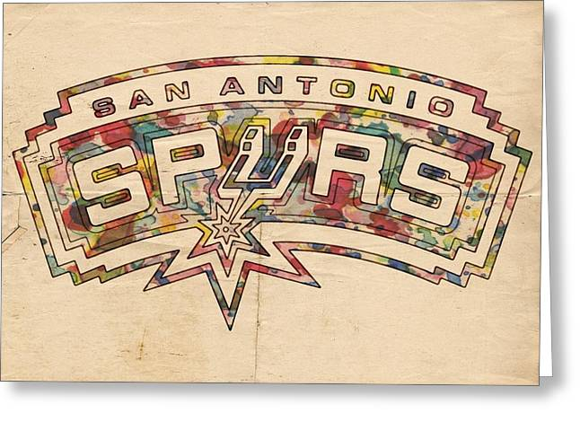 Best Sellers -  - Slamdunk Greeting Cards - San Antonio Spurs Poster Art Greeting Card by Florian Rodarte