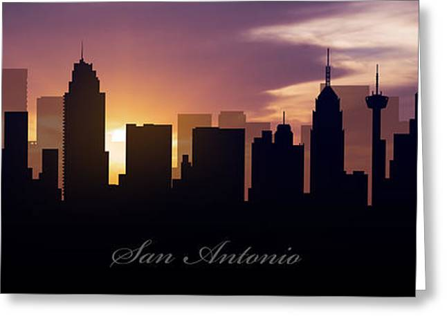 San Antonio Greeting Cards - San Antonio Sunset Greeting Card by Aged Pixel