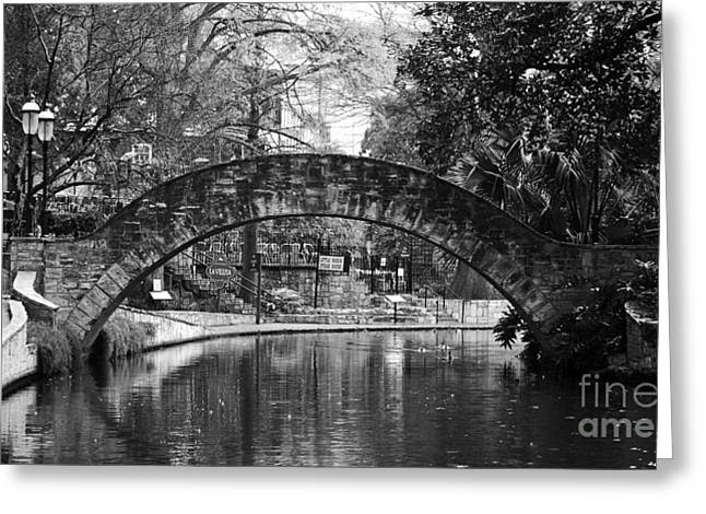 Scenic Landscapes Greeting Cards - San Antonio Texas Riverwalk Footbridge Black and White Greeting Card by Shawn O