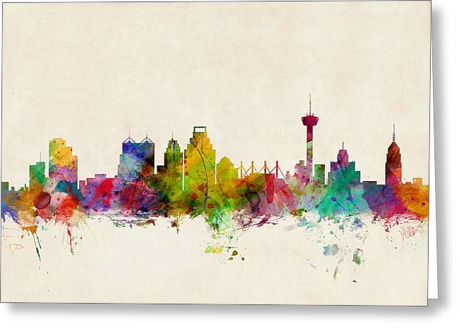 States Greeting Cards - San Antonio Texas Skyline Greeting Card by Michael Tompsett