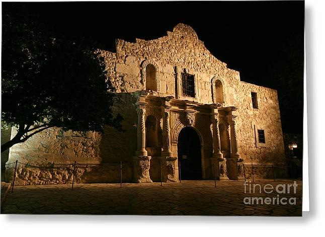 John Wayne Prints Greeting Cards - San Antonio - The Alamo at Night Greeting Card by Randy Smith