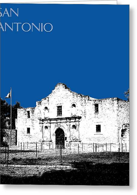 San Antonio Greeting Cards - San Antonio The Alamo - Royal Blue Greeting Card by DB Artist