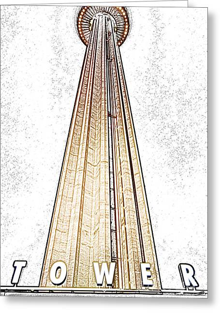 Texas Greeting Cards - San Antonio Tower of the Americas HemisFair Park Space Needle Tower Restaurant Digital Art Greeting Card by Shawn O
