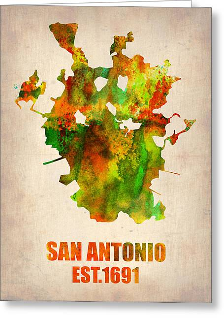 San Antonio Greeting Cards - San Antonio Watercolor Map Greeting Card by Naxart Studio