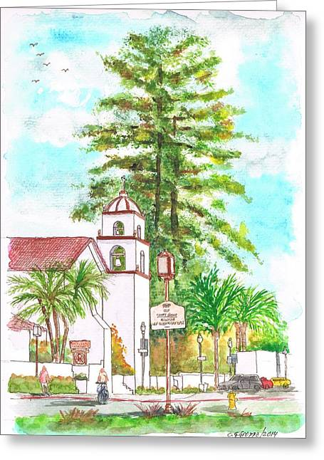 San Buenaventura Mission In Ventura - California Greeting Card by Carlos G Groppa