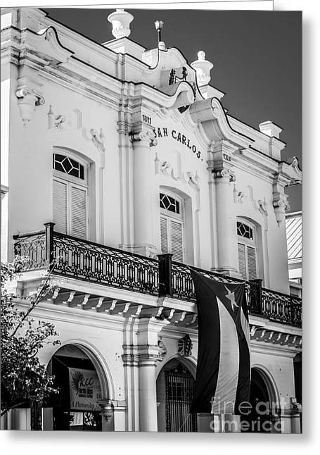 Liberal Greeting Cards - San Carlos Institute Key West - Black and White Greeting Card by Ian Monk