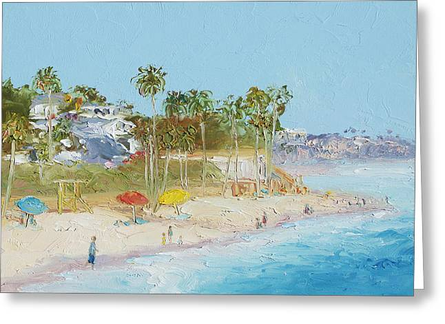 Clemente Paintings Greeting Cards - San Clemente Beach Greeting Card by Jan Matson