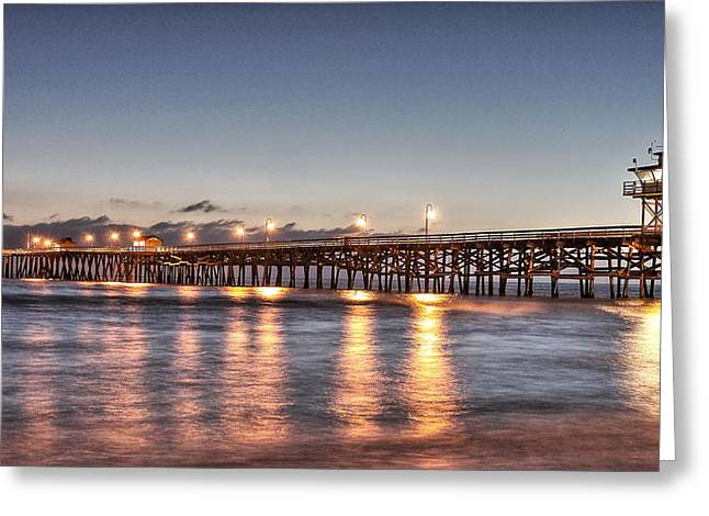 Village By The Sea Greeting Cards - San Clemente Pier at Night Greeting Card by Richard Cheski