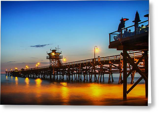San Clemente California Greeting Cards - San Clemente Pier at Sunset Greeting Card by Mountain Dreams