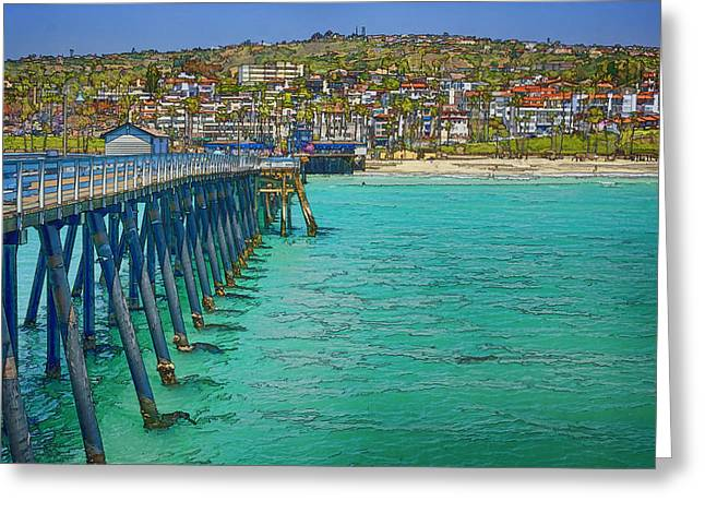 San Clemente Pier Greeting Card by Joan Carroll