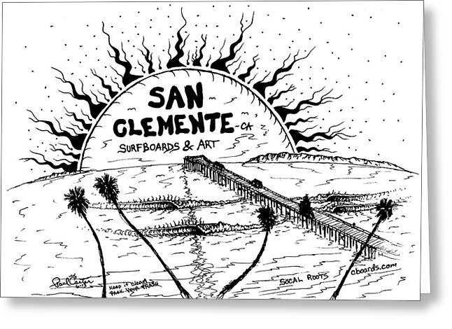 Surf Art Drawings Greeting Cards - San Clemente Pier  Greeting Card by Paul Carter