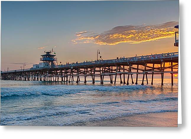 Amazing Sunset Greeting Cards - San Clemente Pier Sunset Greeting Card by Scott Campbell