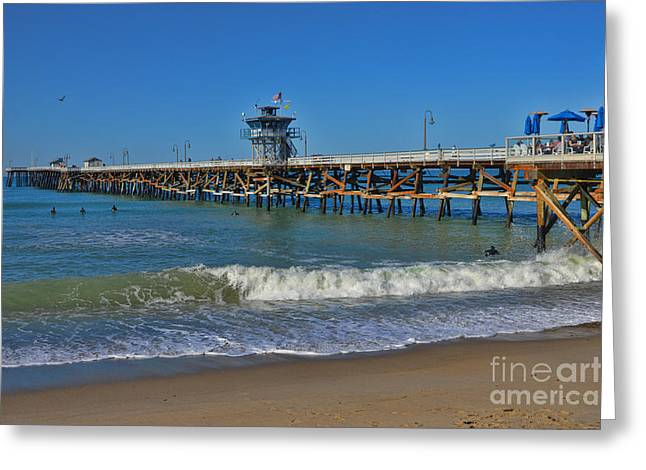 San Clemente Pier Greeting Card by Tommy Anderson